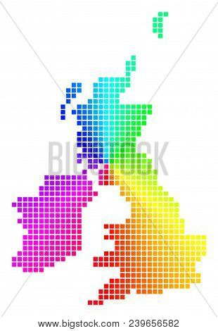 Spectrum Great Britain And Ireland Map. Vector Dotted Geographic Scheme In Bright Spectrum Colors Wi