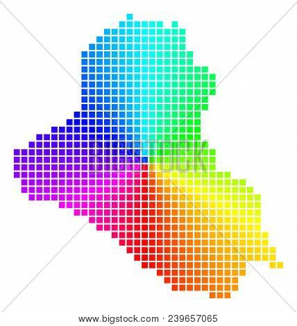 Rainbow Iraq Map. Vector Dotted Geographic Plan In Bright Spectrum Colors With Circular Gradient. Co