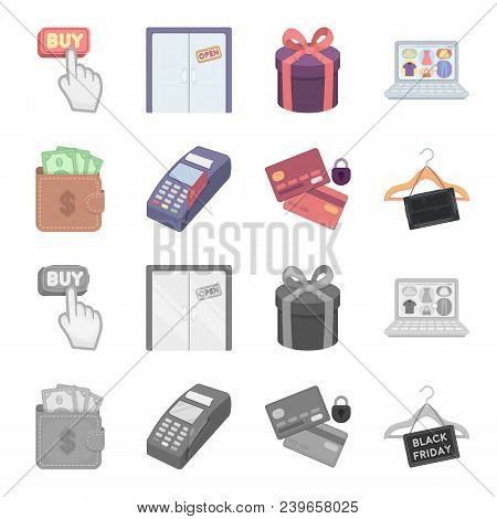 Purse, Money, Touch, Hanger And Other Equipment. E Commerce Set Collection Icons In Cartoon, Monochr