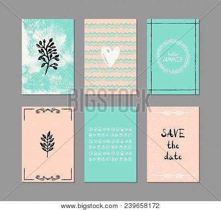 Set Of 6 Creative Greeting Cards. Hand-drawn Inky Patterns.
