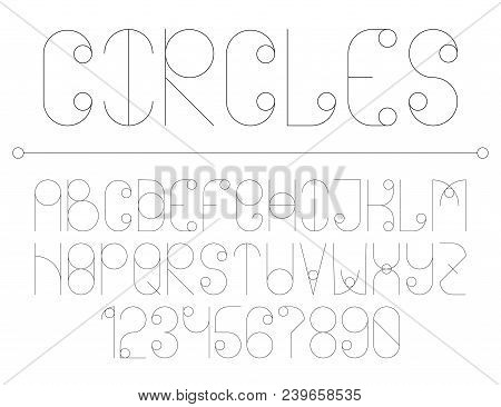Modern Line Alphabet With Circles. Hipster Abstract Vector Font.