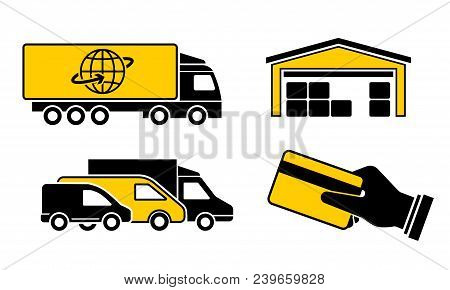 A Set Of Icons Cargo Delivery, Truck, Minivan, Warehouse Goods And Purchase, Hand Holding Credit Car