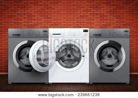 Laundry Room Interior With Washing Machines On Red Brick Wall Background. The Concept Of Modern Equi