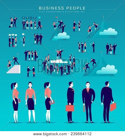 Vector Flat Illustration With Business People Office Characters & Metaphor Isolated On Blue Backgrou