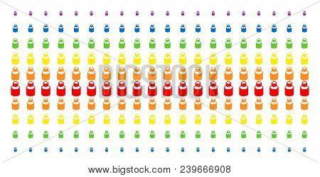 Vial Icon Spectrum Halftone Pattern. Vector Pictograms Arranged Into Halftone Matrix With Vertical S