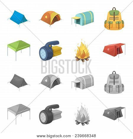 Awning, Fire And Other Tourist Equipment.tent Set Collection Icons In Cartoon, Monochrome Style Vect