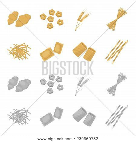 Different Types Of Pasta. Types Of Pasta Set Collection Icons In Cartoon, Monochrome Style Vector Sy