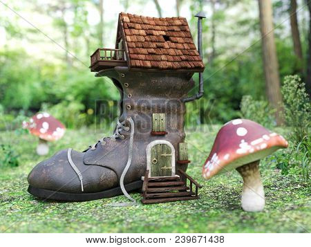 3d Rendering Of A Cute Fantasy Shoe House In A Fairytale Toadstool Forest.