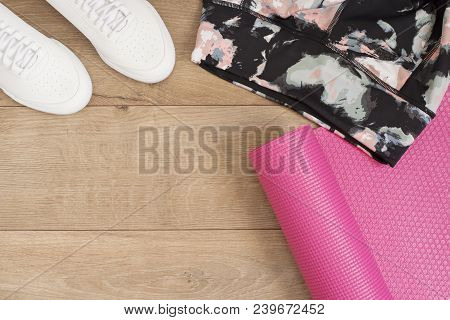 Fashion Trendy Trainers And Leggings, Pink Yoga Mat. Hipster Set. Female Sneakers, Sport Shoes In Fl
