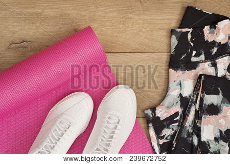 Pink Yoga Mat, Female Sneakers, Sport Shoes, Leggings In Flat Lay Style, Top View. Fashion Trendy Tr