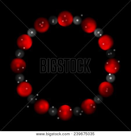 Concept Contrast Red Black Circles Abstract Background. Vector Graphic Design
