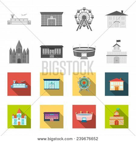 House Of Government, Stadium, Cafe, Church.building Set Collection Icons In Monochrome, Flat Style V