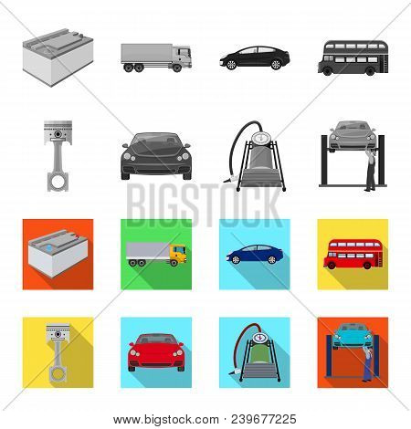 Car On Lift, Piston And Pump Monochrome, Flat Icons In Set Collection For Design.car Maintenance Sta