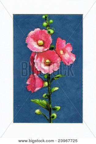 Freehand Art: Pink Hollyhock Flowers