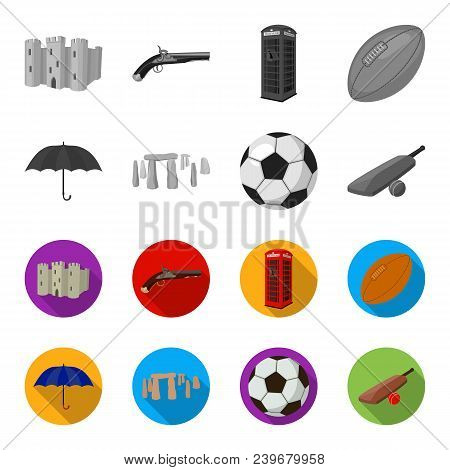 Umbrella, Stone, Ball, Cricket .england Country Set Collection Icons In Monochrome, Flat Style Vecto