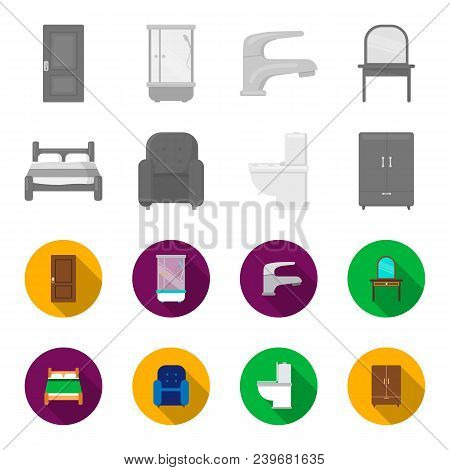 A Bed, An Armchair, A Toilet, A Wardrobe.furniturefurniture Set Collection Icons In Monochrome, Flat