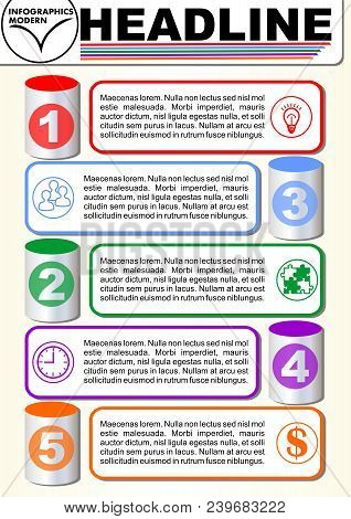 Infographic Five Step Template, Process Visualization, 3d Cyklinder Graphic Elements, Abstract Vecto