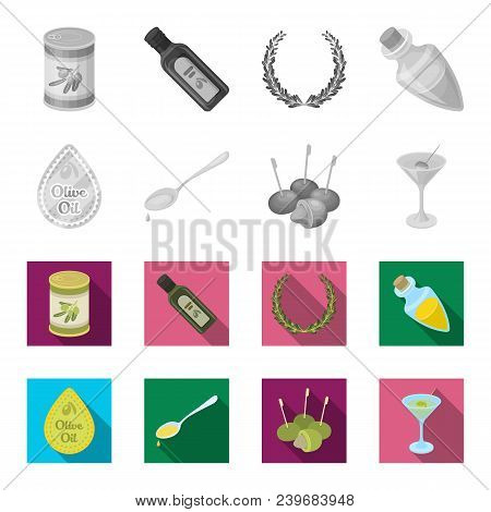 Label Of Olive Oil, Spoon With A Drop, Olives On Sticks, A Glass Of Alcohol. Olives Set Collection I