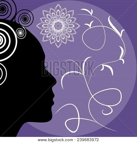 Ultraviolet Background With Lady Face Silhouette, Trendy Purple Combined With Black And White, Elega