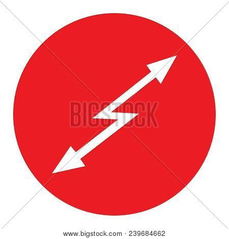 Sign Attention Hazard Red Round Icon With White Arrow Lightning Inside With A Direction Up And Down