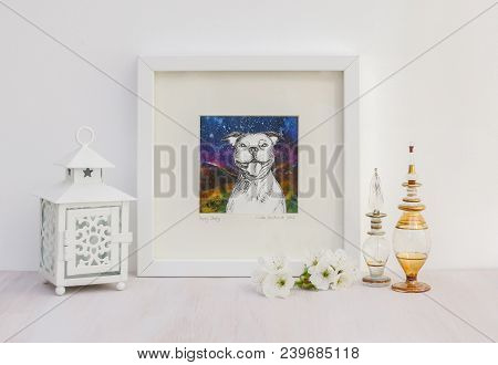 White Interior Display. Drawing Of A Happy Staffy Dog With A Big Smile, On A Collaged Background In