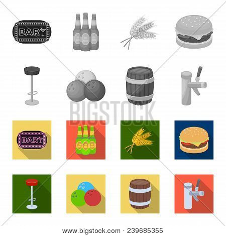Restaurant, Cafe, Chair, Bowling Ball .pub Set Collection Icons In Monochrome, Flat Style Vector Sym