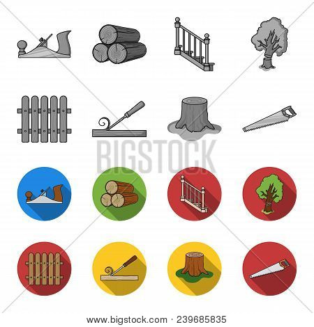 Fence, Chisel, Stump, Hacksaw For Wood. Lumber And Timber Set Collection Icons In Monochrome, Flat S
