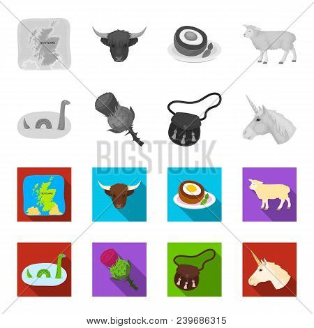 Loch Ness Monster, Thistle Flower, Unicorn, Sporan. Scotland Country Set Collection Icons In Monochr