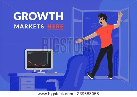 Surprised Investor In The Window Is Going To Fall Down At The Moment When On Computer Screen Downtre