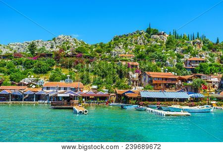 Rocky Landscape Of Kalekoy Village, The Popular Tourist Location In Kekova Bay, Famous For Idyllic C