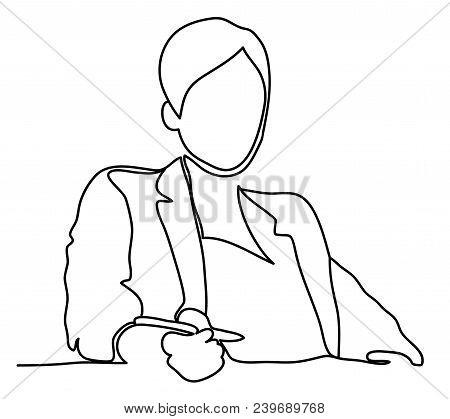 A Businesswoman Sat At Her Office Desk. Continuous Line Drawing. Isolated On The White Background. V