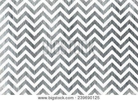 Silver Painted Stripes Background, Chevron. Silver Shining Texture. Silver Paint