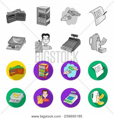 Package, Scales, Banana, Fruit .supermarket Set Collection Icons In Monochrome, Flat Style Vector Sy