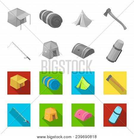 Spinning For Fishing, Tent, Thermos.tent Set Collection Icons In Monochrome, Flat Style Vector Symbo