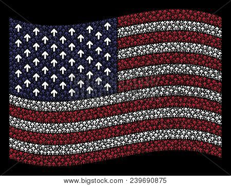 Arrow Direction Symbols Are Combined Into Waving American Flag Stylization On A Dark Background. Vec
