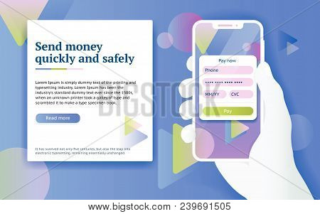 Online Payment Via Internet Services. Mobile Payment Application. Man With Phone In Hand. Design Con