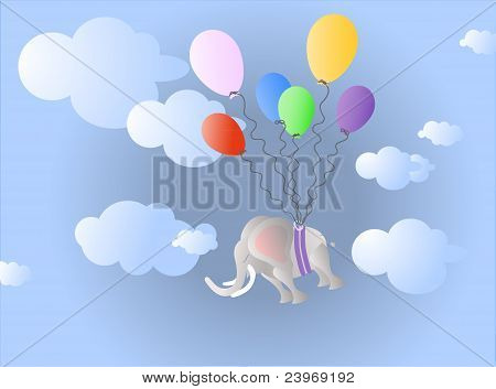 Elephant between clouds