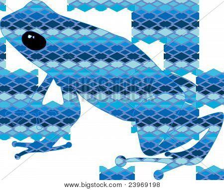 Frog with blue snake skin