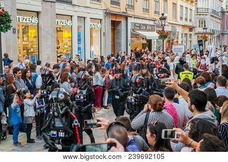 Malaga, Spain - May 05, 2018. Members Of The 501st Legion Spanish Garrison Dressed As Warriors From
