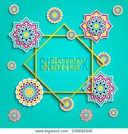 Ramadan Kareem Greeting Card. Islamic Holidays Design. Round Elements, Flowers. Floral Pattern With