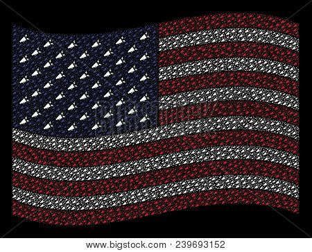 Alert Megaphone Icons Are Arranged Into Waving Usa Flag Stylization On A Dark Background. Vector Con