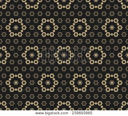 Vector Golden Seamless Pattern. Luxury Black And Gold Abstract Ornamental Texture. Dark Ornate Backg