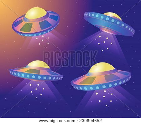 Spaceships With Light Beam Isolated. Set Of Flying Saucers. Ufo In Various Point Of View. Vector Ill