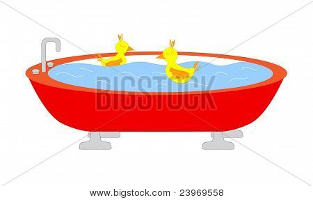 Tub with swimming ducks