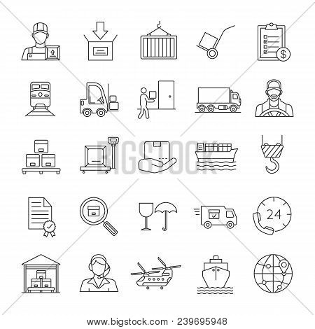 Cargo Shipping Linear Icons Set. Delivery Service. Land, Air And Water Transportation. Thin Line Con