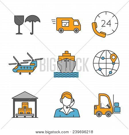 Cargo Shipping Color Icons Set. Delivery Service. Fragile, Delivery Van, Hotline, Helicopter, Cargo