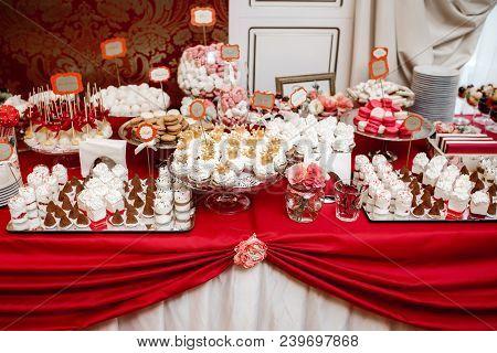 Delicious wedding reception candy bar dessert table poster