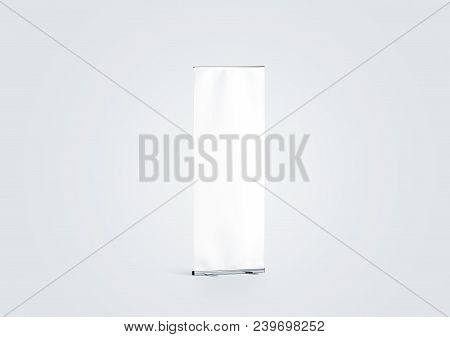 Blank White Roll-up Banner Display Mockup, Side View, 3d Rendering. Empty Rollup Baner Design Mock U