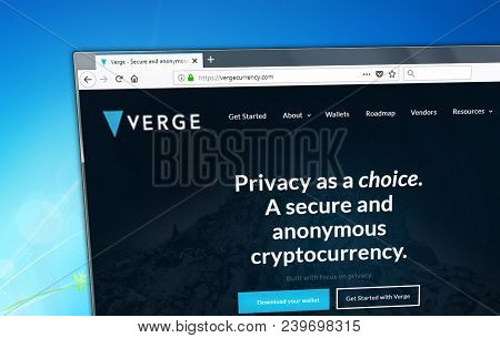 Novosibirsk, Russia - May 8, 2018 - Homepagee Of Verge Cryptocurrency On Pc Display, Web Address - V