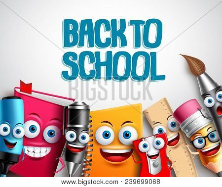 Back To School Vector Characters Background Template With Colorful Funny School Cartoon Mascots Like